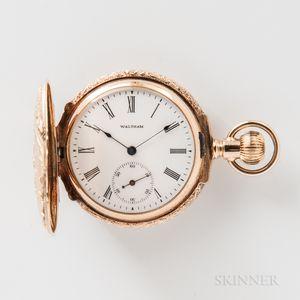 Waltham 14kt Multicolored Gold Semi-box Hunter-case Watch