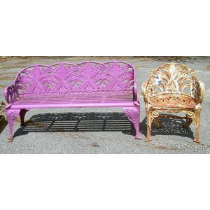 Fuchsia-painted Cast Iron Lily of the Valley Pattern Garden Seat and a White-painted   Garden Seat in a Similar Pattern