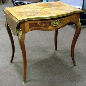 French-style Gilt-metal Mounted Marquetry and Veneer Drop-leaf Table with Drawer.
