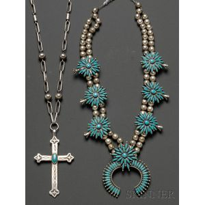 Two Southwest Silver and Turquoise Necklaces