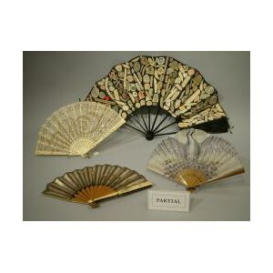 Nine Assorted Lady's Ivory, Bone and Wood Fans