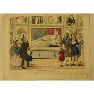 Unframed Hand-colored Engraving, The Art Exhibition in Vienna, by Andreas Geiger (Austrian, 1765-1856)