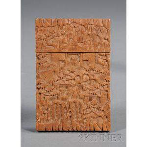 Carved Sandalwood Carte-de-Visite