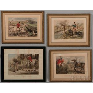 John Leech (British, 1817-1864)  Four Prints from Hunting-Incidents: A Capital Finish; Hold Tight Master...