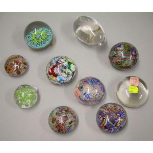 Ten Art Glass Paperweights.