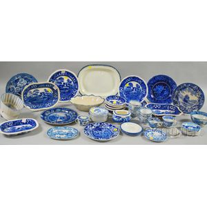 Fifty-one Pieces of Assorted English Blue and White Transfer-decorated Staffordshire   Tableware