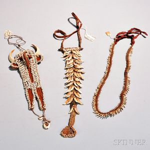 Three New Guinea Shell and Animal Tooth Necklaces