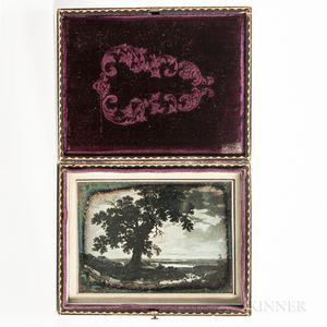 Quarter-plate Daguerreotype of a Folk Painting of a Landscape
