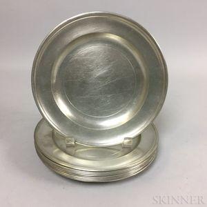 Set of Nine Jacob Whitmore Pewter Plates
