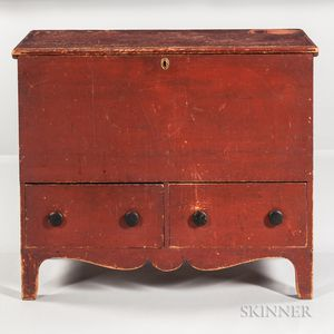 Red-painted Blanket Chest over Two Drawers