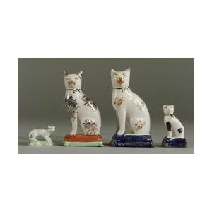 Four Pairs of English Staffordshire-type Earthenware Cats