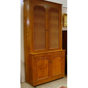 Neoclassical Birch Veneer Step-back Book Cabinet , a Modern Asian-Style Gilt and Decorated Four-Panel Floor Scr...