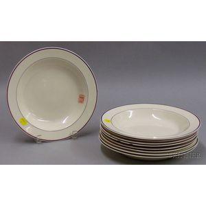 Set Nine Davenport Puce-banded Creamware Soup Plates