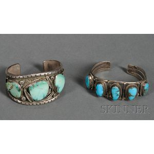 Two Southwest Silver and Turquoise Bracelets