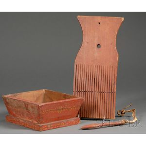 Three Red-painted Woodenware Items