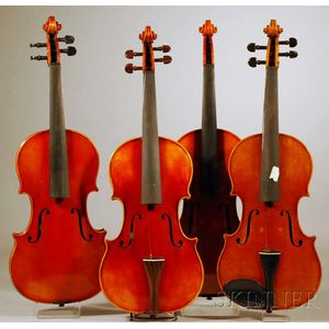 Four Modern German Violins, Anton Schroetter Workshop, Mittenwald, c. 1970