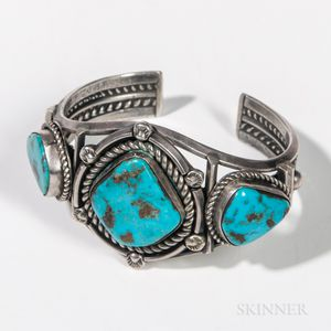 Navajo Silver and Turquoise Bracelet