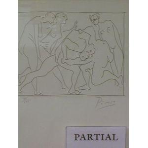 Two Framed Prints Depicting Wrestling Nudes