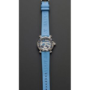 "Limited Edition Stainless Steel, Sapphire, and Diamond ""Happy Sport"" Wristwatch, Cho"