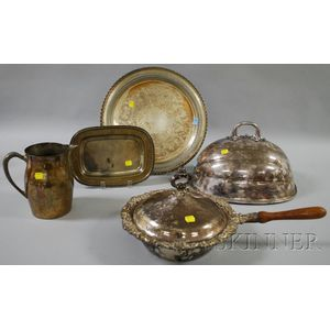 One Silver and Four Silver-plated Tableware Items