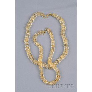 Double-strand Citrine Bead Necklaces