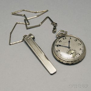 Hamilton 14kt White Gold Open Face Pocket Watch with Chain and Penknife