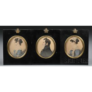 Possibly E. Girard (Anglo-American, Early 19th Century)      Three Portrait Miniatures of Two Ladies and a Gentleman
