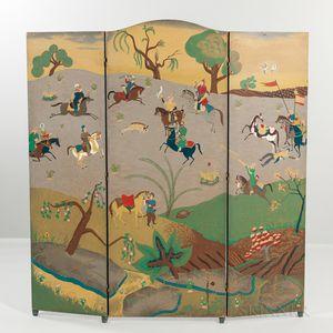 "Georg Jensen ""Persian Panorama"" Tri-fold Wood Room Screen"