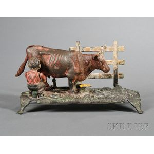 Painted Cast Iron Kicking Milk Cow Mechanical Bank