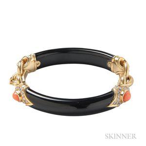 18kt Gold, Black Jade, Coral, and Diamond Bracelet