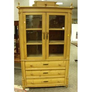 Continental Provincial Glazed Pine Cupboard over Three Long Drawers