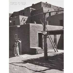Ansel Adams (American, 1902-1984)      Winnowing Grain Taos Pueblo, New Mexico
