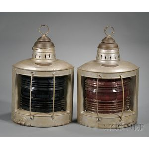 Pair of Running Lights from the Three-masted Schooner Indora F. Matthews