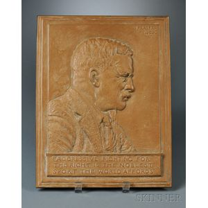 James Fraser (1876-1953) Bronze Profile Portrait Plaque of President Teddy   Roosevelt