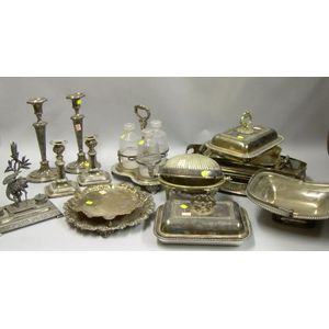 Fourteen Assorted Silver Plated Tableware and Items