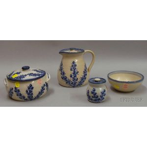 Four Pieces of Blue and White Dorchester Pottery