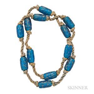 """Art Deco Molded Glass """"Fleurs et Rinceaux"""" Beads, Lalique"""
