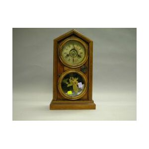E. Ingraham Victorian Walnut Thirty-hour Alarm Mantel Clock.
