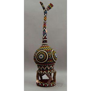 African Multicolored Beaded Sculpture