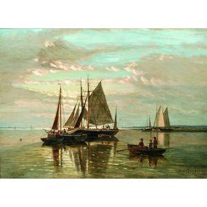 Attributed to Abraham Hulk I (Dutch, 1813-1897)      Moored Fishing Boats