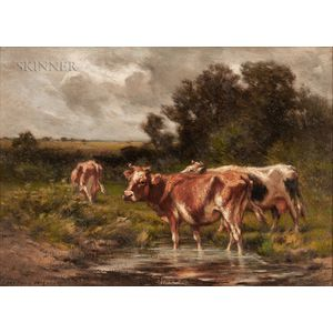 Carleton Wiggins (American, 1848-1932)      Cows Wading