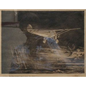 Framed Etching Titled Wings of the Morning