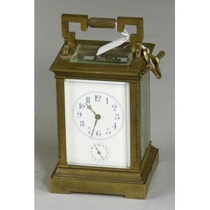 French Bronze Carriage Clock with Alarm