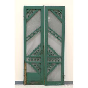 Pair of Late Victorian Green-painted Ball and Stick Screen Doors
