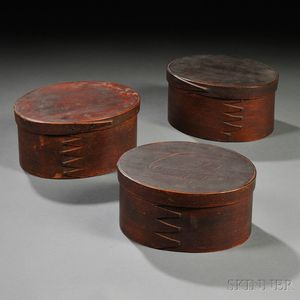 Three Brown-painted Lapped-seam Oval Covered Pantry Storage Boxes