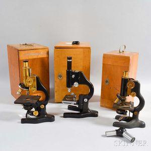 Three Monocular Laboratory Microscopes