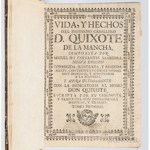 Cervantes Saavedra, Miguel de (1547-1616) Vida, y Hechos del Ingenioso Caballero D. Quixote de la Mancha. Nueva Ediccion, Corregida, Il