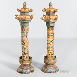 Pair of Cloisonne Temple Pagodas