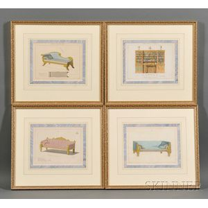 Four Framed Printed Book Plates of Furniture