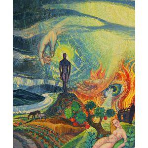 Robert Moeller (German/American, 1899-1984)      Adam and Eve in a Surreal Landscape.